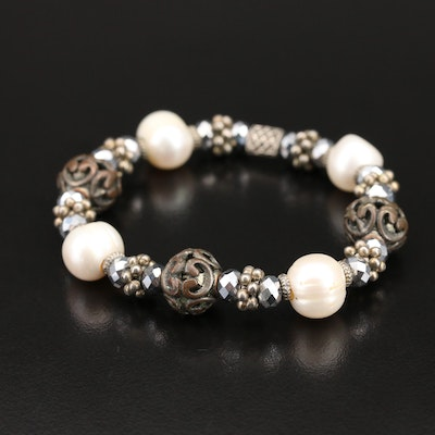 Pearl and Glass Expandable Bracelet