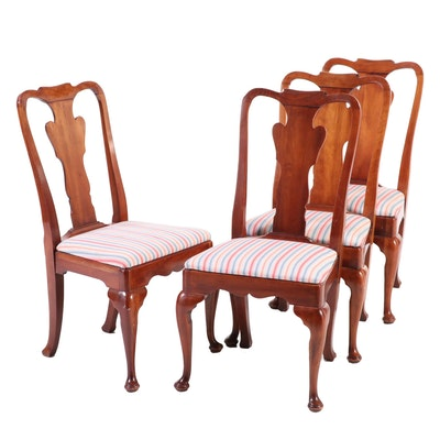 Four Statton Furniture Queen Anne Style Cherrywood Side Chairs, dated 1980