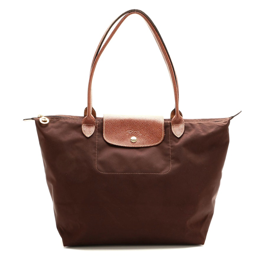 Longchamp Le Pliage Large Shopping Tote in Brown Nylon and Leather