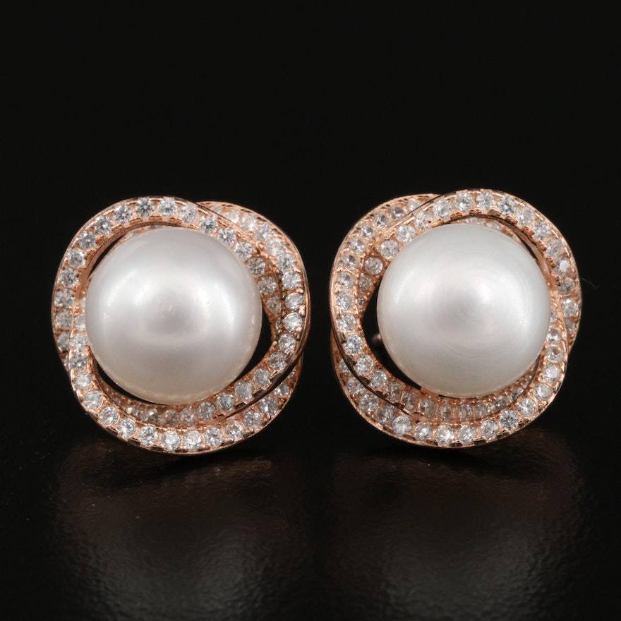 Sterling Pearl and Cubic Zirconia Earrings