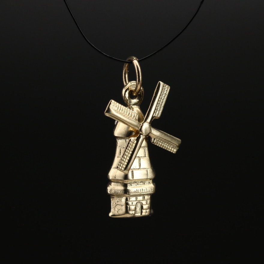 14K Articulated Windmill Charm