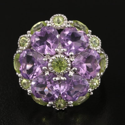 Sterling Amethyst and Peridot Cluster Ring