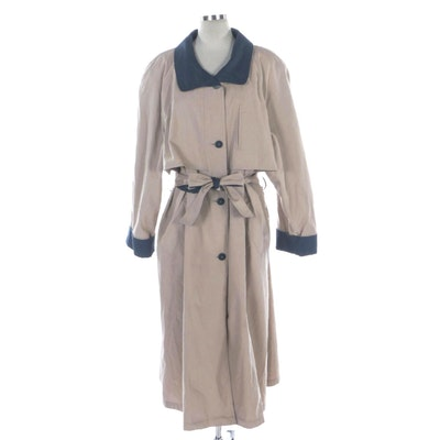 London Towne Khaki Belted Trench Coat with Blue Contrasting Trim