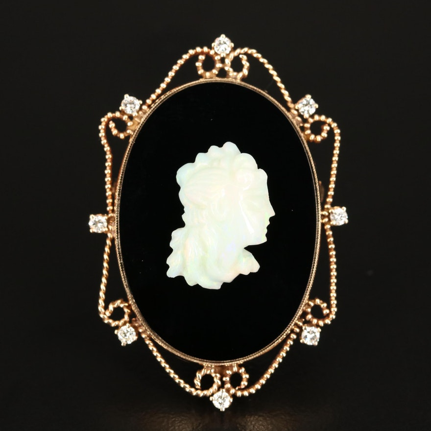 14K Opal, Black Onyx and Diamond Cameo Converter Brooch