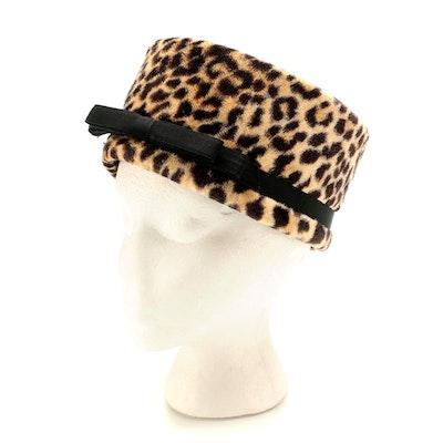 Gage Hat Shop Leopard Printed Faux Fur Pillbox Hat with Black Grosgrain Flat Bow
