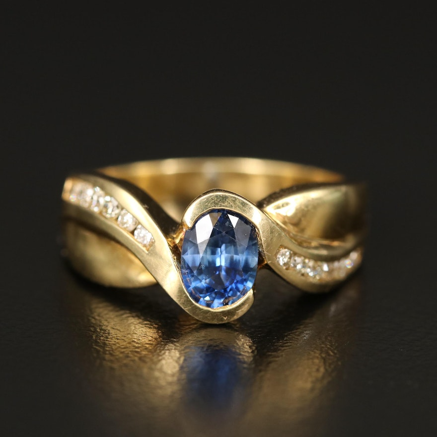 18K 1.04 CT Sapphire and Diamond Crossover Ring
