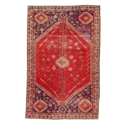 4'9 x 7'6 Hand-Knotted Persian Afshar Pictorial Rug, 1930s