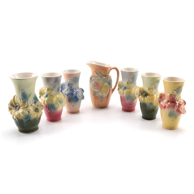 Royal Copley Pottery Pitcher and Vases, Mid-20th Century