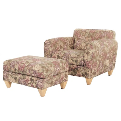 Workbench Custom Upholstered Floral Armchair with Ottoman
