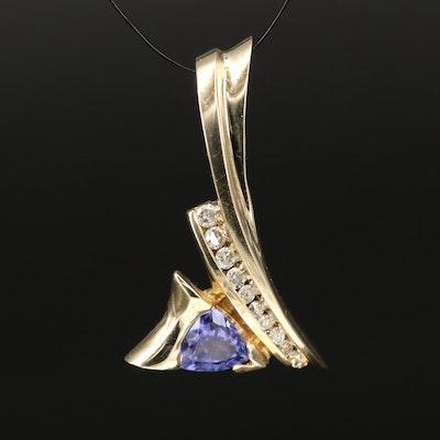 14K Tanzanite and Diamond Slide Pendant