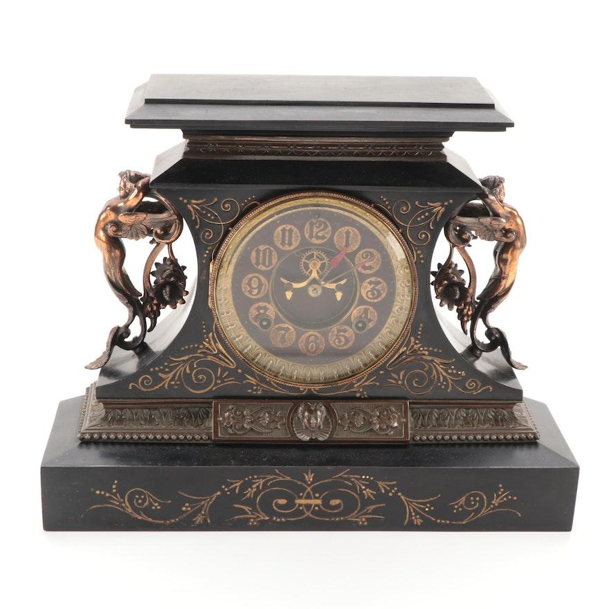 "Ansonia Clock Co.""Rosalind"" Cast Iron Mantel Clock, Late 19th Century"