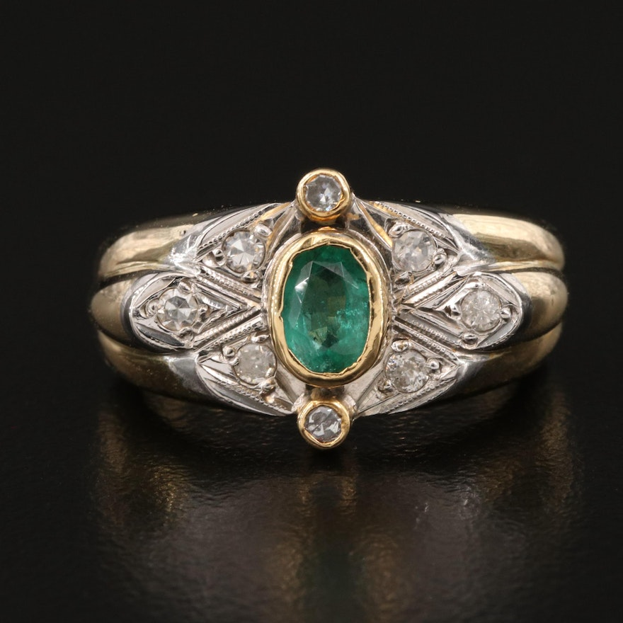18K Oval Faceted Emerald and 0.25 CTW Diamond Ring