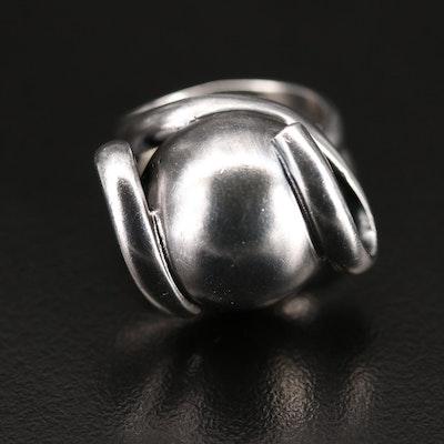 950 Silver Swirled Ribbon Ring