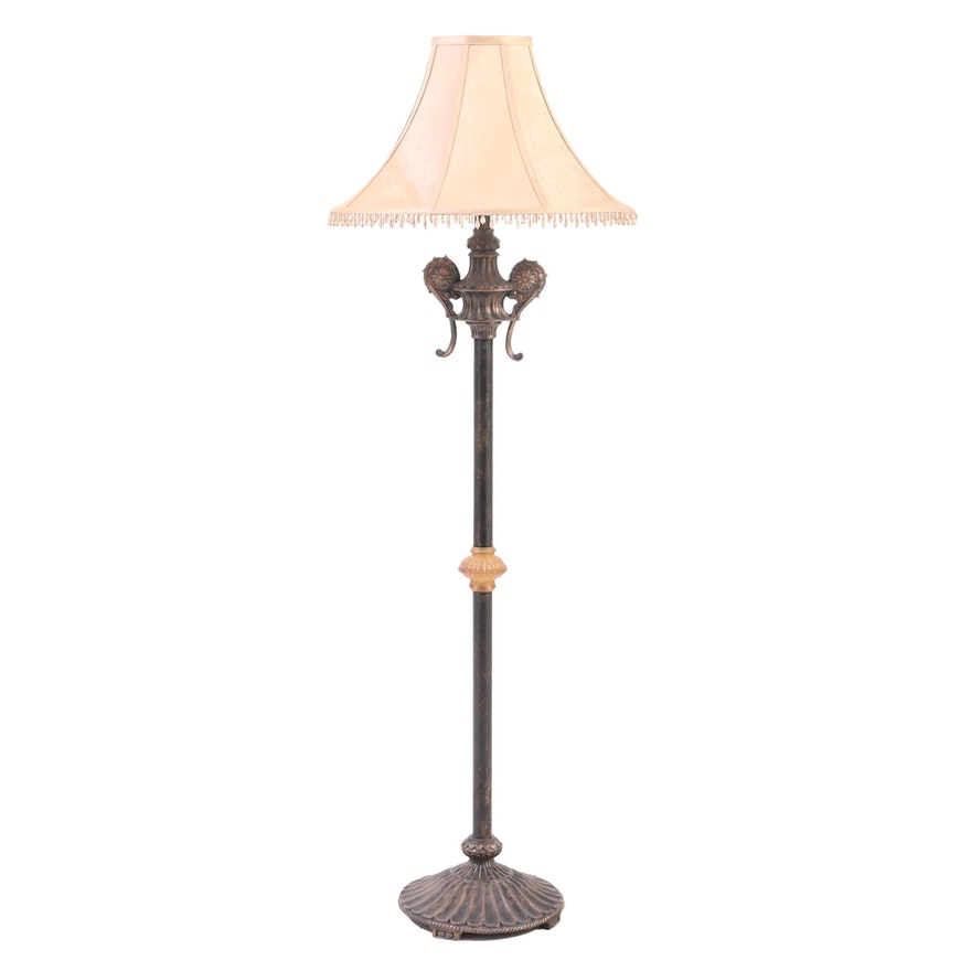 Patinated and Bronzed Metal Floor Lamp with Bead Trimmed Shade