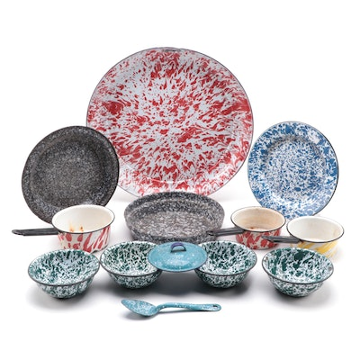 Splattered Enamelware Plates, Bowls and Other Tableware, Mid-20th Century