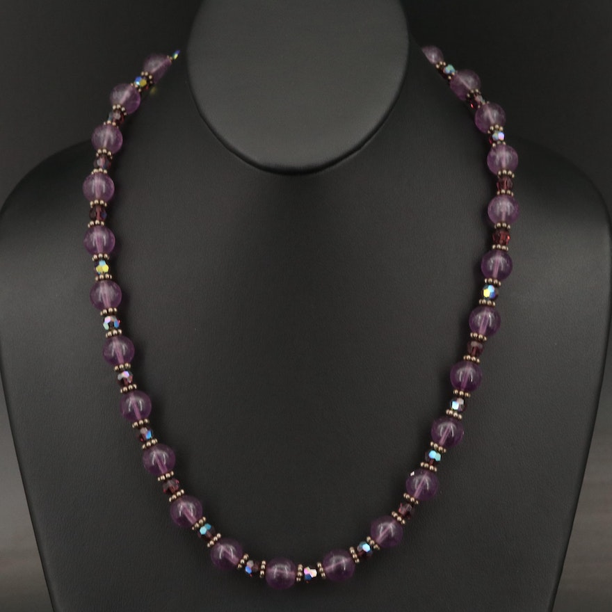 Glass Bead Necklace with Sterling Clasp