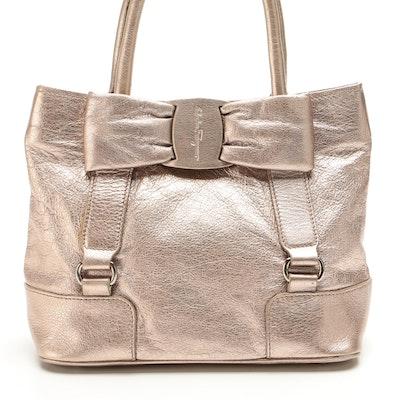 Salvatore Ferragamo Vara Bow Metallic Handbag