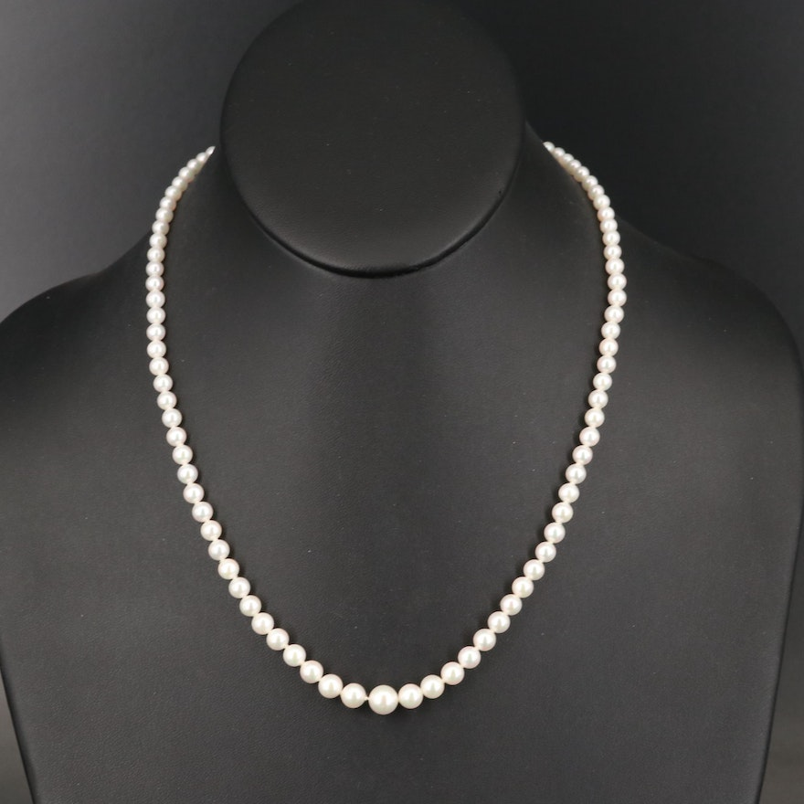 Mikimoto Graduated Pearl Necklace with 18K Clasp