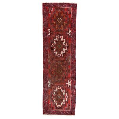 3'3 x 10'10 Hand-Knotted Persian Zanjan Carpet Runner, 1950s