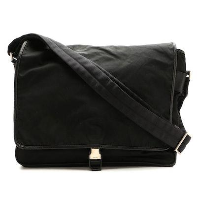 Prada Messenger Bag in Black Tessuto Nylon and Saffiano Leather Trim