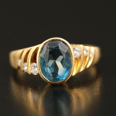 18K Topaz and Diamond Ring