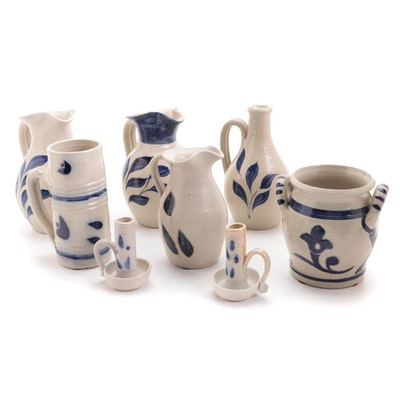 Williamsburg Pottery Salt Glazed Stoneware Jugs, Mug, Vessel and Candle Holders