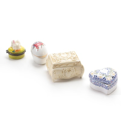 Portuguese Faïence Heart Shaped Box with Other Porcelain and Ceramic Boxes