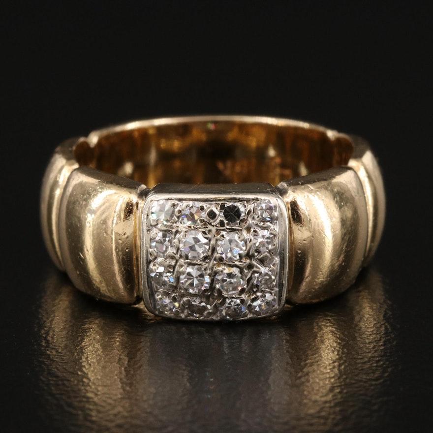 14K Diamond Cluster Band