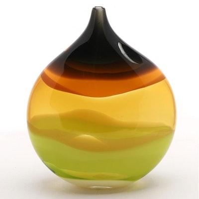 Caleb Siemon Handblown Studio Art Glass Vase, 2002