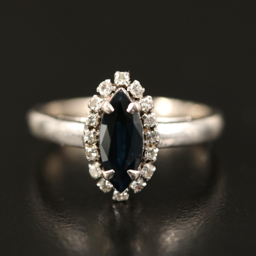 10K Sapphire and Diamond Navette Ring
