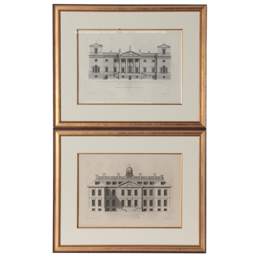 Henry Hulsbergh Engravings of Architectural Buildings, circa 1725