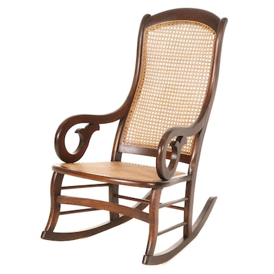 Cane Upholstered Walnut Lincoln-Style Rocking Chair, Mid to Late 20th Century
