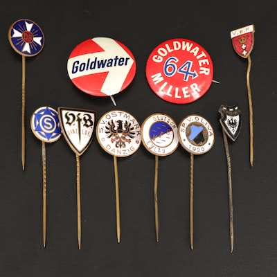 Vintage German and Political Pins and Stick Pins with Enamel