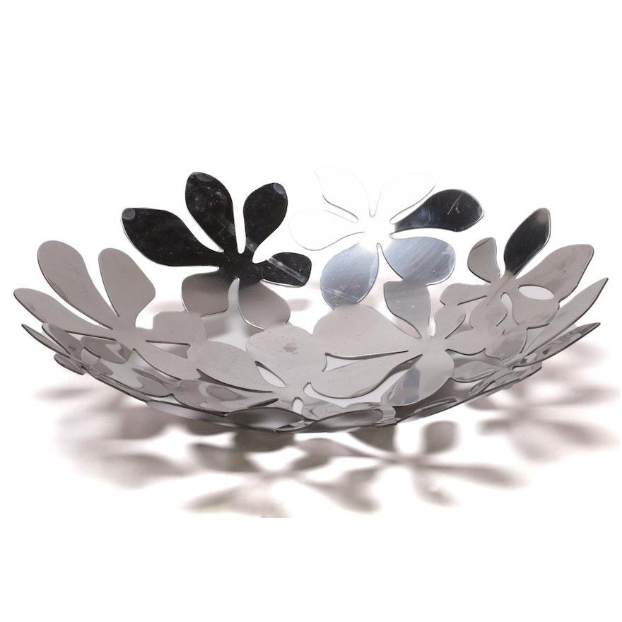 Foliate Metal Centerpiece Bowl