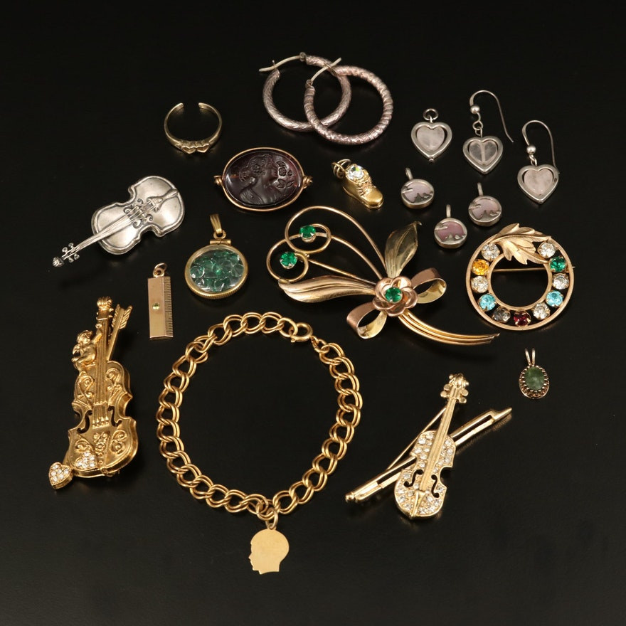 Sterling Jewelry Selection Featuring 14K Charm and Gemstone Accents