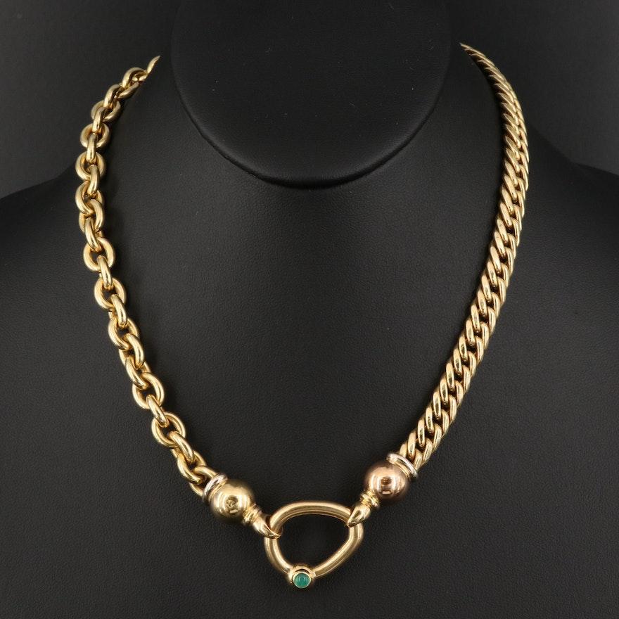 18K Chalcedony Stationary Pendant Necklace