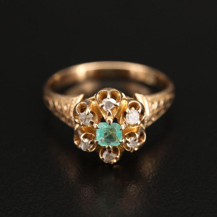 Victorian 18K Emerald and Diamond Ring