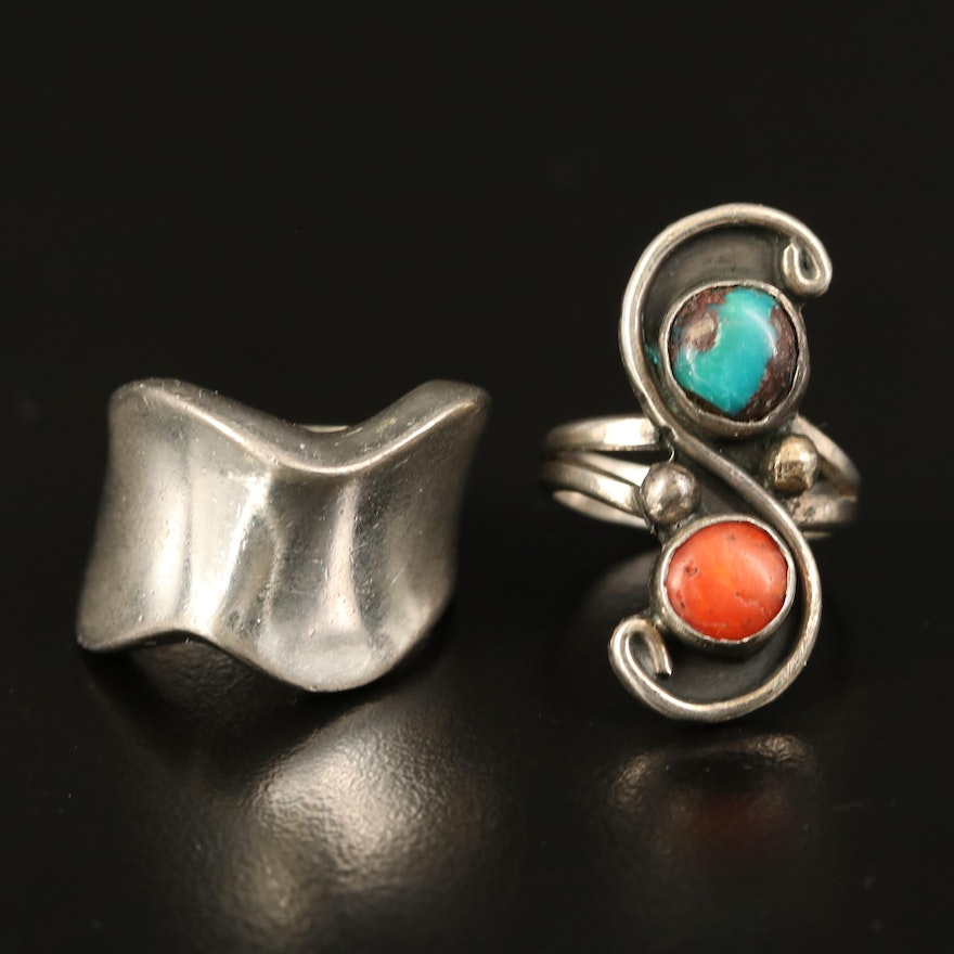 Sterling Silver Coral and Turquoise Ring with Wavy Band