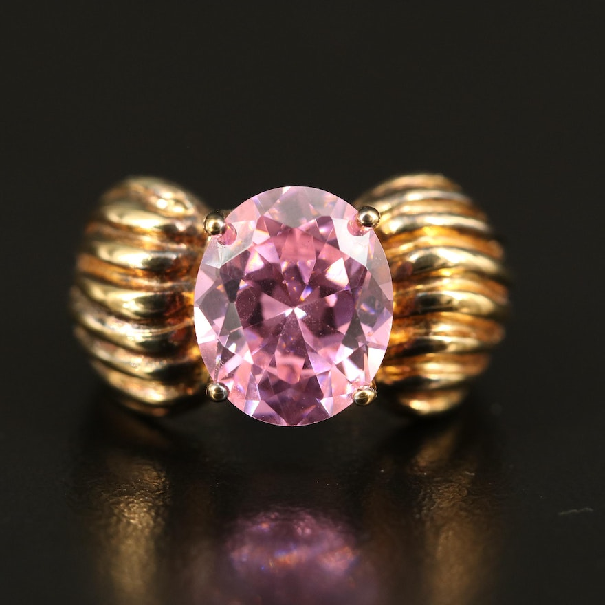 Sterling Silver Cubic Zirconia Ring with Fluted Shoulders