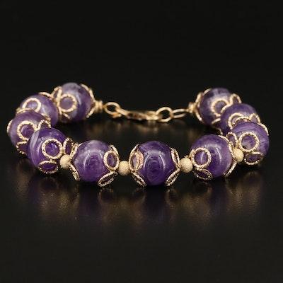 Italian 14K Amethyst Beaded Bracelet with Filigree Caps