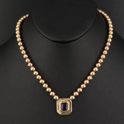 14K Amethyst Stationary Pendant Necklace