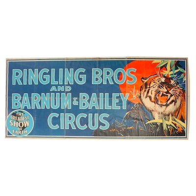 """Ringling Brothers and Barnum & Bailey """"The Greatest Show on Earth"""" Banner, 1940s"""