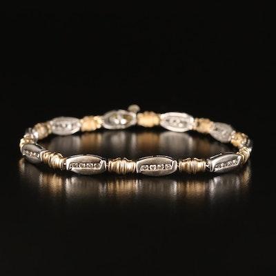 10K Two-Tone 1.00 CTW Diamond Fancy Link Bracelet