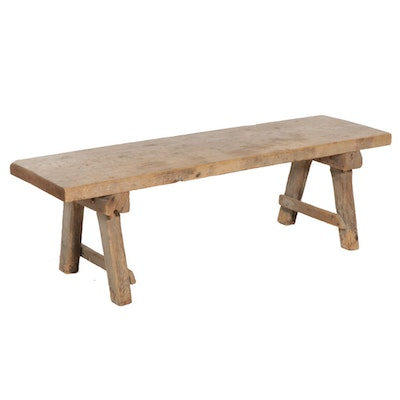 Rustic Wooden Bench with Pegged Construction