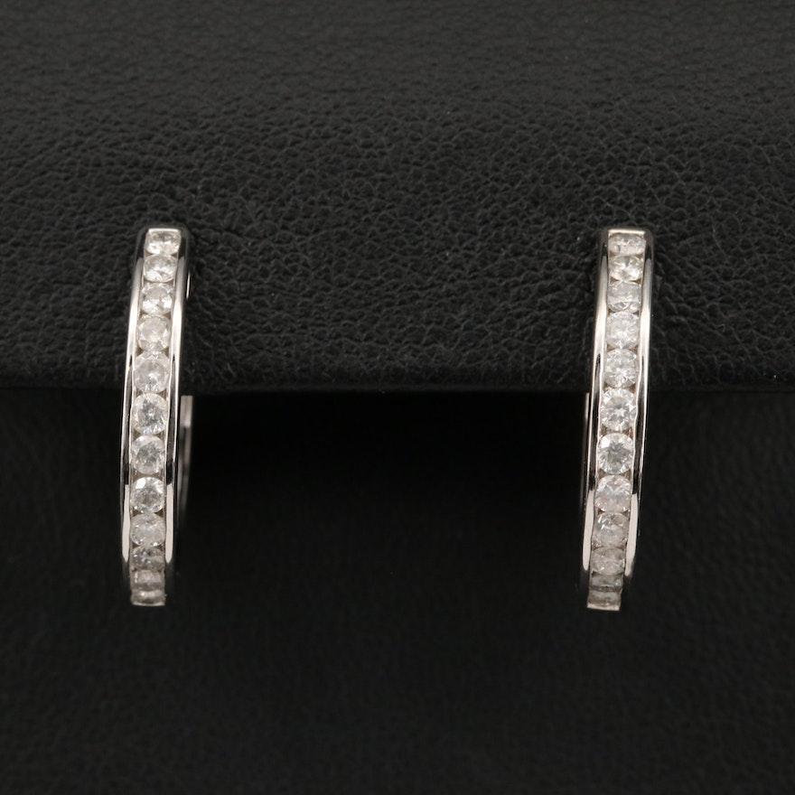14K 1.00 CTW Diamond Hoop Earrings