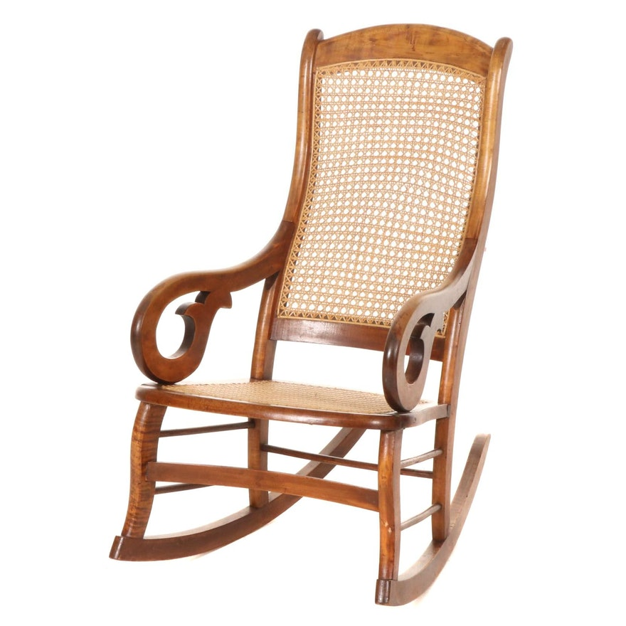 Cane Upholstered Walnut Rocking Chair, Mid to Late 20th Century