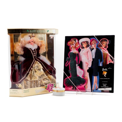 """Mattel """"Happy Holidays"""" 1996 Barbie with Barbie Greeting Cards and Trinket Box"""