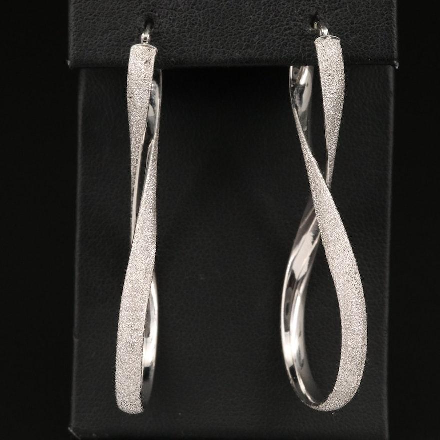 Italian 14K Textured Twist Hoop Earrings