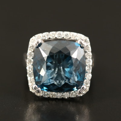 14K 17.89 CT London Blue Topaz and Diamond Halo Ring