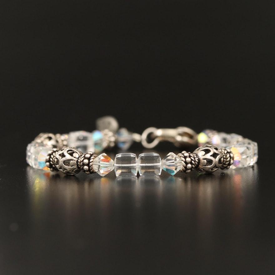 Sterling Crystal Beaded Bracelet